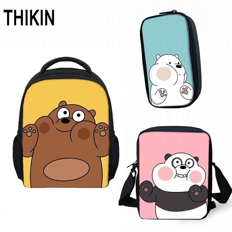 THIKIN Cute We Bare Bears Small Children School Bag 3pcs/set Grizzly Panda Ice Bear Best Gift Kindergarten Book Bag Mini Mochila