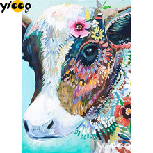 Full Square/Round drill diamond Painting Colorful Cow 5D DIY diamond embroidery mosaic Decoration painting AX0106 full square round drill diamond painting horse animal 5d diy diamond embroidery mosaic decoration painting ax0106