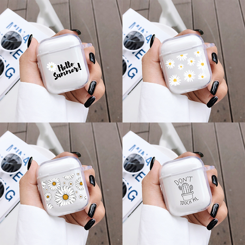 For AirPods 1 Case Daisy Flower Transparent Clear Soft Silicon Wireless Bluetooth Earphone Cases For Apple Airpods 2 Cover Funda