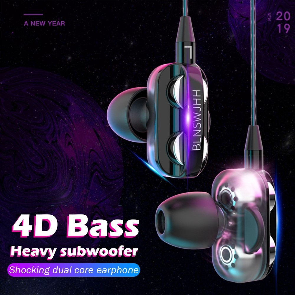 Portable Dual Speaker 3.5MM Wired Earphone Headset For iPhone Dual Driver Stereo Sport Earbuds with Mic for Computer