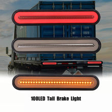 2x tira de led para freio de caminhão e reboque, à prova d' água, 3 em 1, neon, anel, farol luminoso ao parar, sinal flutuante lâmpada de luz