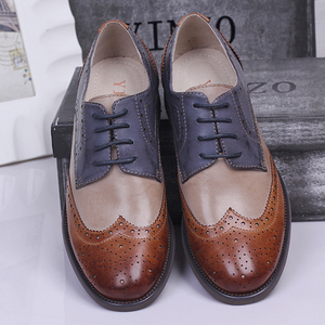 Image 1 - Yinzo Frauen Wohnungen Oxford Schuhe Frau Echtem Leder Turnschuhe Damen Brogues Vintage Casual Schuhe Schuhe Für Frauen Schuhe 2020