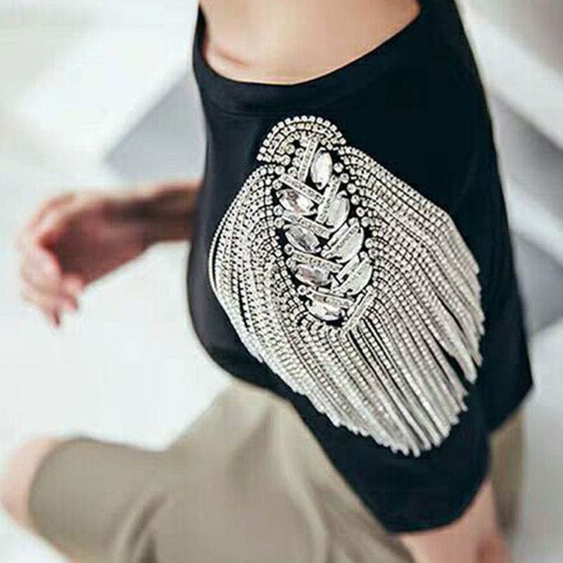 Unisex Punk Fringe Shoulder Board Badge Glitter Rhinestone Tassels Chain Epaulet High Quality And Brand New