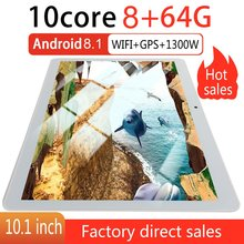 KT107 Round Hole Tablet 10.1 Inch  Large Screen Android 8.10 Version Fashion Portable Tablet 8G+64G White Tablet White EU Plug