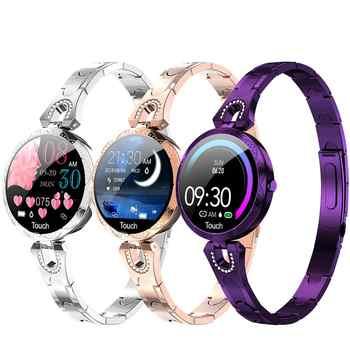 Reloj inteligente AK15 para mujer 2019 nuevo Monitor de ritmo cardíaco de presión arterial IP67 reloj impermeable para teléfono Android iOS