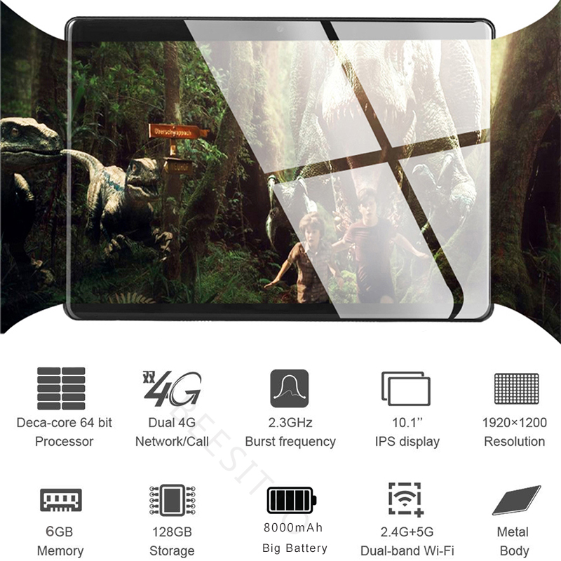 Tablet PC Gift Wifi Bluetooth 128GB-ROM Deca-Core 10inch 4G LTE 1920--1200 New IPS 6GB
