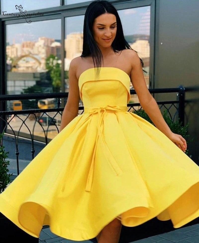 Yellow Homecoming Dresses Short Knee