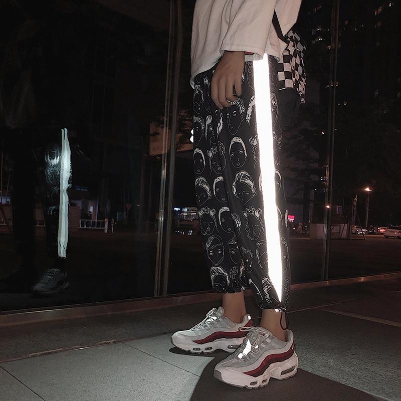 HOUZHOU Reflective Pants Women Hip Hop Joggers Women Pant Female Printing Trousers Gothic Plus Size Streetwear Dropshipping
