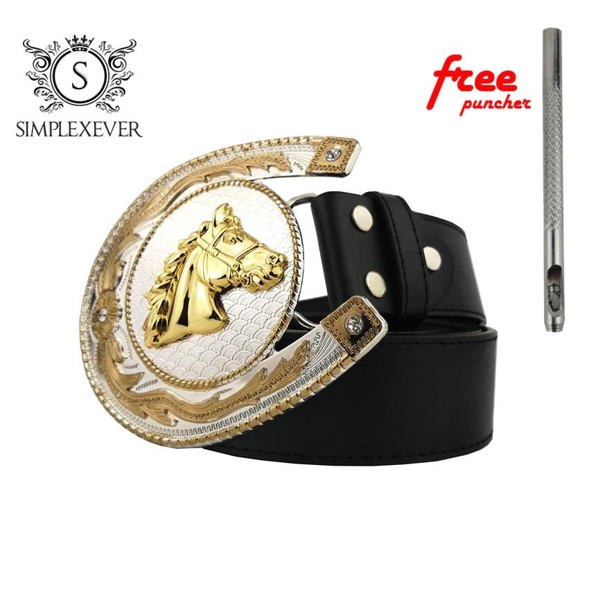 Cowboy Good Plating Metal Golden Horses Belt Buckle Mens Animal Jeans Accessories Belt Buckles For Men Suit 4cm Width Belt