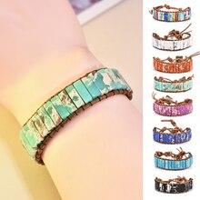 NEW Chakra Bracelet Jewelry Handmade Multi Color Natural Stone Tube Beads Leather Wrap Bracelet Couples Bracelets Creative Gifts