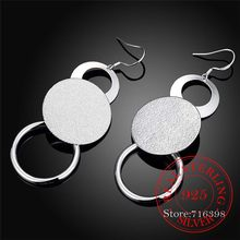 100% Real 925 Sterling Silver Jewelry Rould Circle Long Vintage Tassel Dangle Earrings For Women 2020 Wedding Party Jewelry Gift(China)