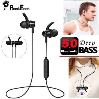PunnkFunnk Bluetooth Earphone Sport Wireless Headphones Bluetooth 5.0 Built in MP3 Player Magentic 3D Bass Stereo earbuds W/Mic 1