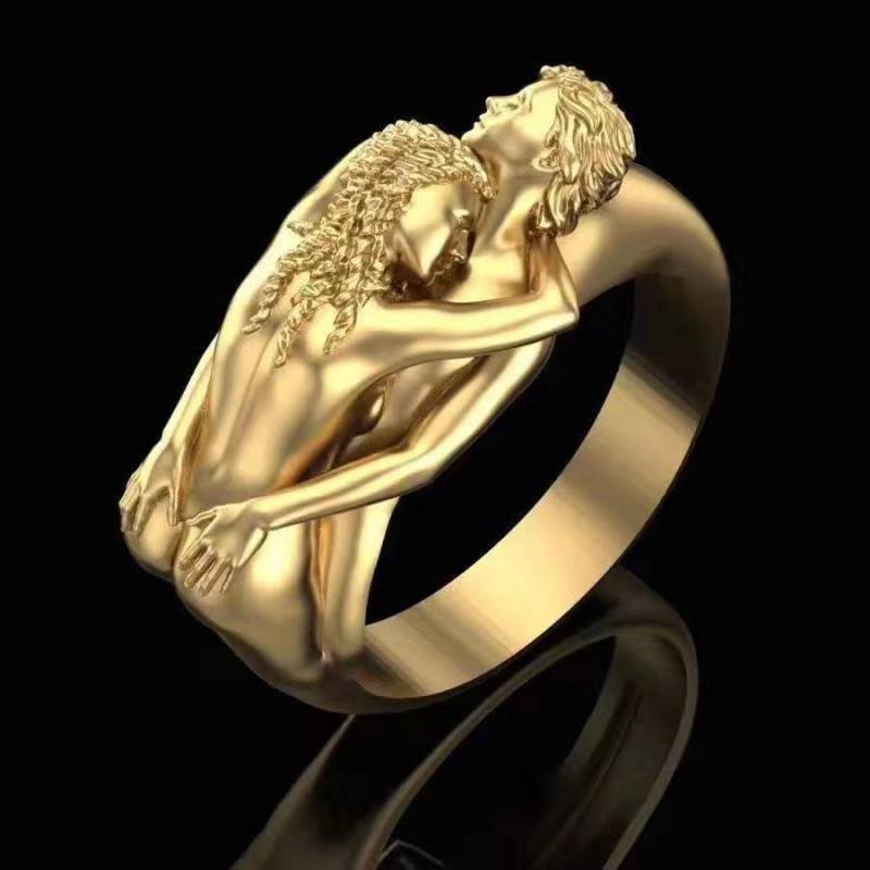 Модные женские и мужские золотистые/серебристые кольца для влюбленных в стиле панк, викингов, падение влюбленных для мужчин и женщин, парны...