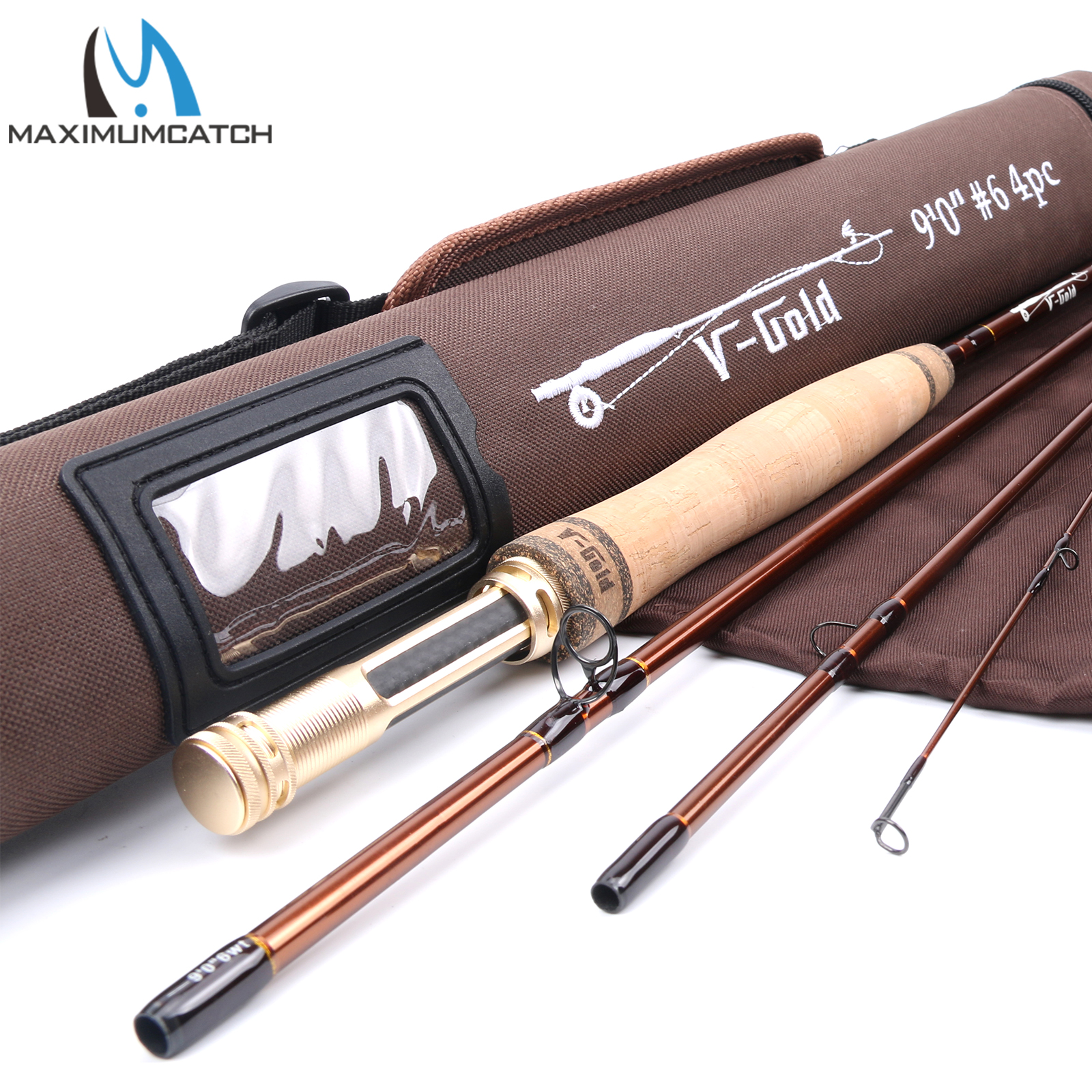 Maximumcatch V Gold Fly Rod 40T SK Carbon Fast Action With Cordura Rod Tube Fly Fishing
