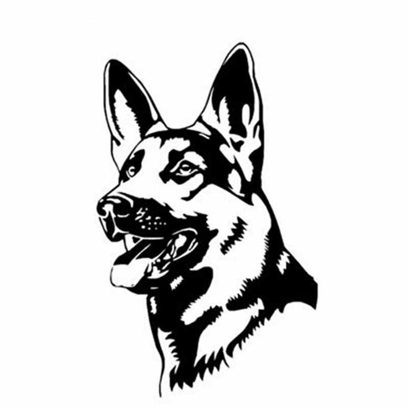 أسود/فضي الكلب الراعي الألماني شخصية ملصق حائط من الفينيل ملحقات الشاحنة تصفيف السيارة ملصقات السيارات