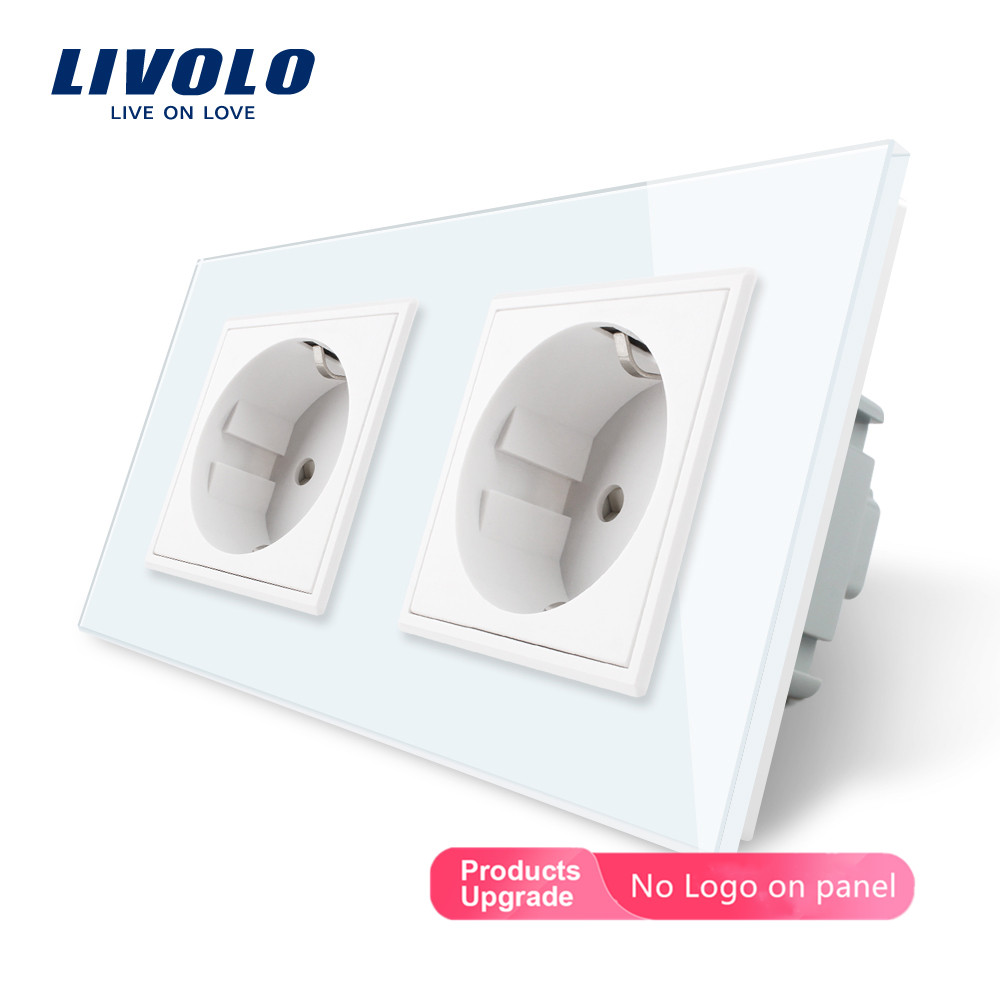 Livolo EU Standard Double Wall Power Socket, 4colors Crystal Glass Frame,  16A Wall Outlet