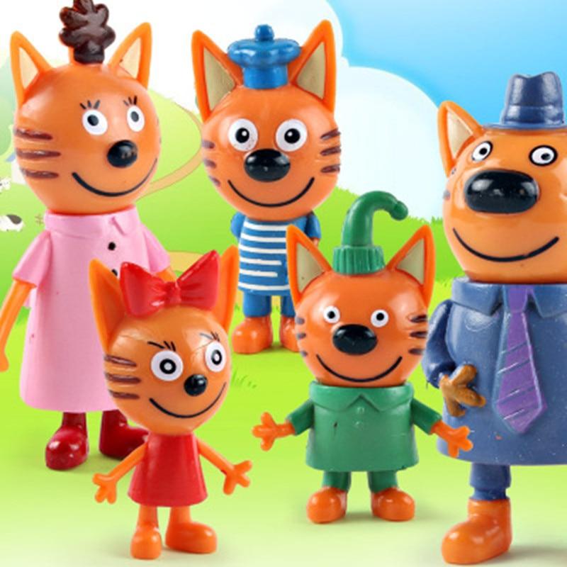 5x Three Little Kittens Action Figure Toys Russian Cartoon Anime Mini Happy YJCA