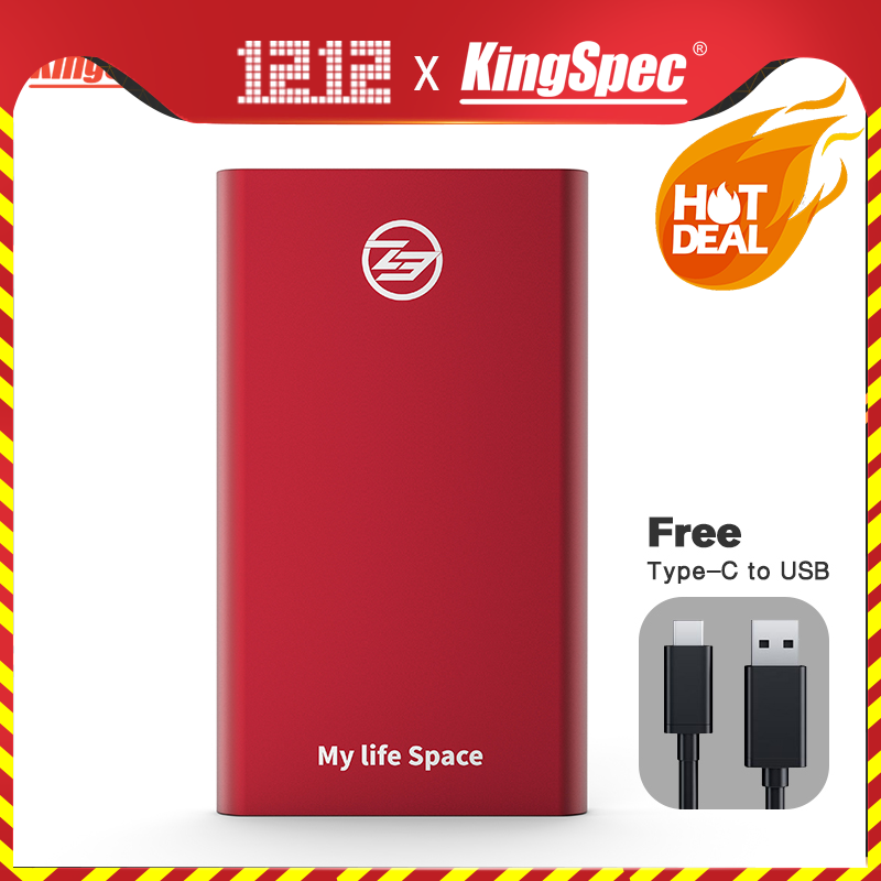 Wholesale KingSpec 64GB 128GB 256GB 512GB External SSD Type-c USB 3.1 Portable SSD HD Externo 1TB With USB3.1 Gen1 Interface