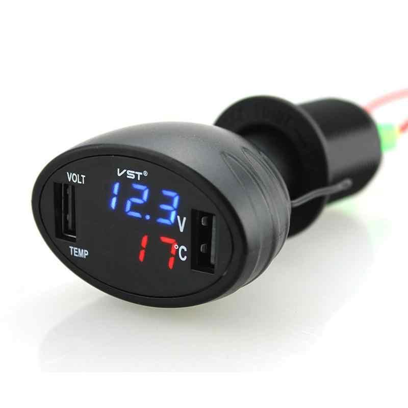 3 In 1 Mobil Pengukur Tegangan Volt Suhu Dual Usb Biaya Cepat Ponsel Pengisian Alat Mobil Charger Mobil Baterai Monitor Gauge