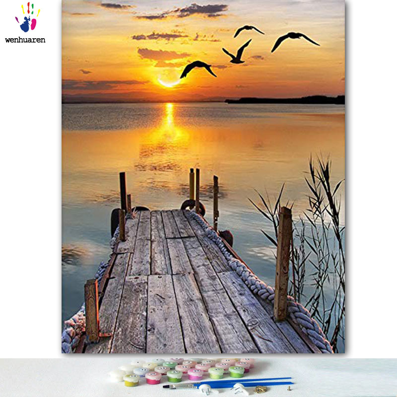 DIY Colorings Pictures By Numbers With Colors The Arrogance Of The Sea Picture Drawing Painting By Numbers Framed Home