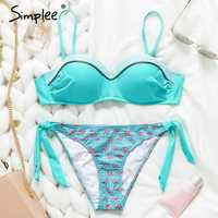 Simplee Sexy women string bikini micro Push up floral swimwear bathing suit biquini Summer beach wear brazil swimsuit female