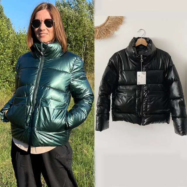 2021 Autumn Winter Women Parkas Jackets Casual Stand Collar Shiny fabric Thick Warm padded Coats Female Winter Outwear Jackets 1
