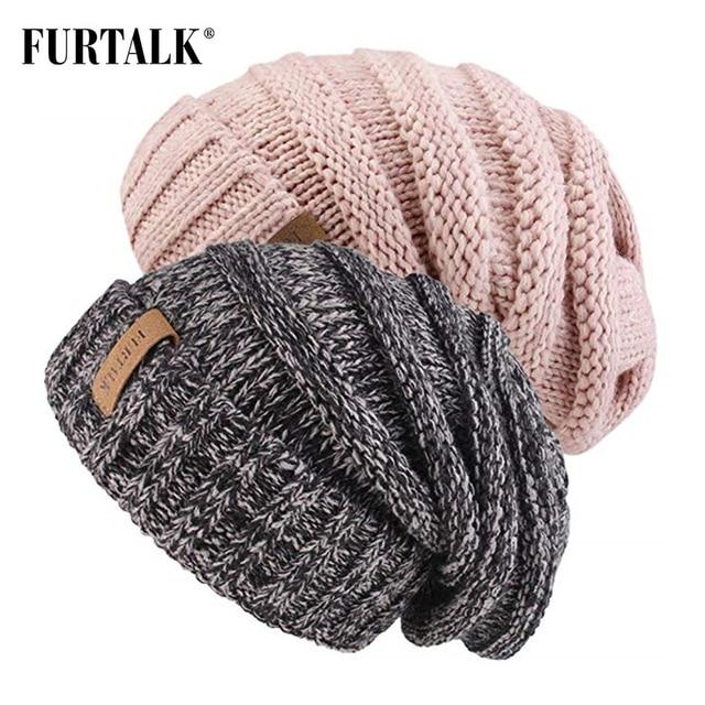 Winter Knitted Hat Women Hat Slouchy Beanie for Girls Skullies Cap 2
