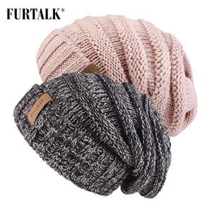 Image 3 - Furconverte chapéu de malha feminino, gorro slouchy para meninas a047