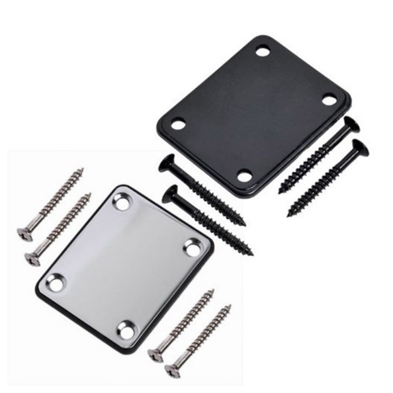 Electric Guitar Neck Plate Stainless Steel Joint Board With Screws Bass Accessories