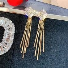S925 silver needle studded tassel earrings European and American new temperament Joker fashion Korea
