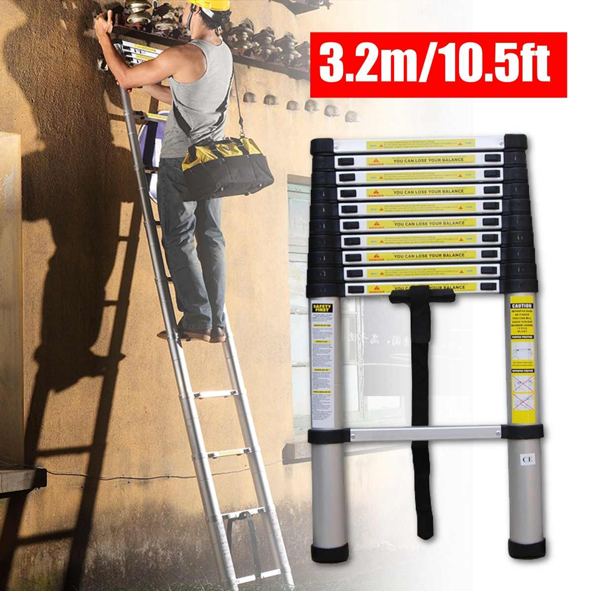 3.2m 10.5ft Aluminum Multi-Purpose Extention Ladder Telescopic Stepladders Lightweight Portable Household Outdoor 330lbs