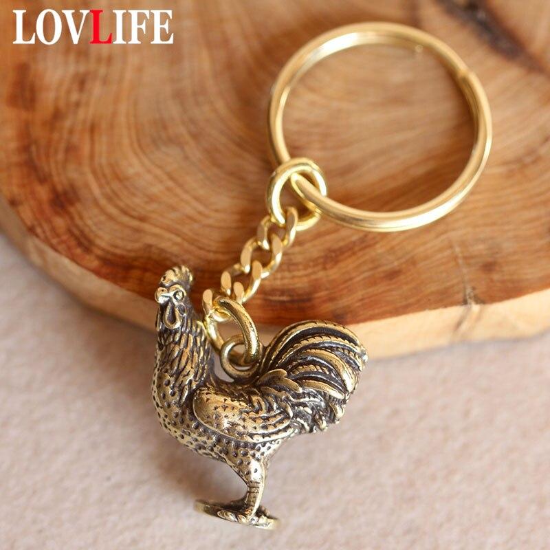 Feito à mão de bronze galo chaveiros cobre chinês zodiac saco de frango pendurado pingente carro chaveiro presentes