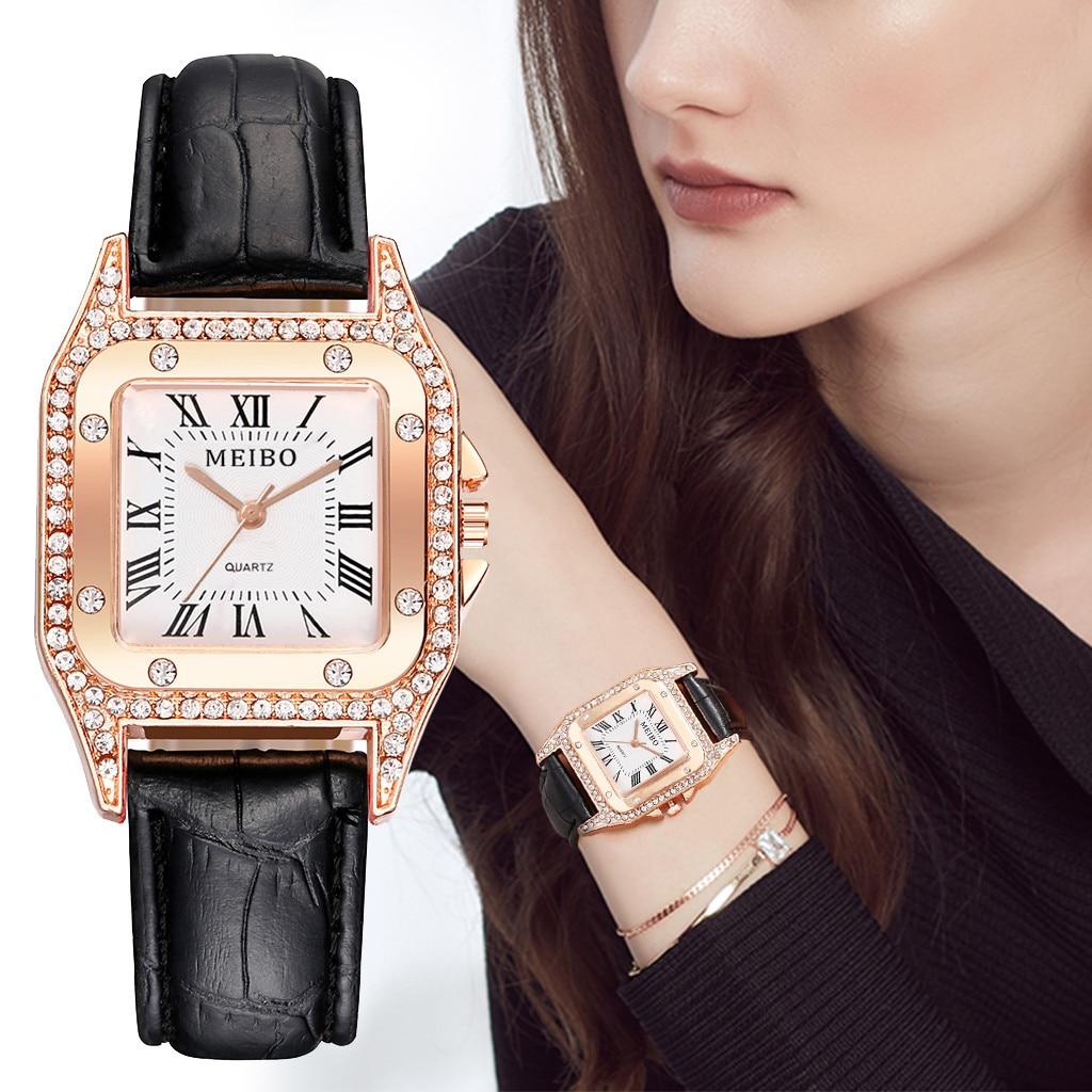 Womens Watches Luxury Top Brand Square Casual Quartz Watches Leather Strap Ladies Watch Analog Wrist Watch Relogio Femino@50