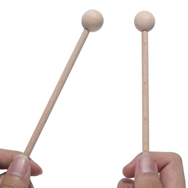 ABLB--2 Pair Wood Mallets Percussion Sticks for Energy Chime, Xylophone, Wood Block, Glockenspiel and Bells