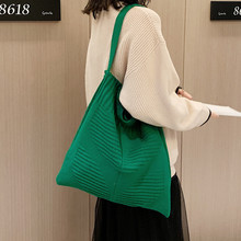 Handbag Women Casual Tote-Bag Foldable Knitted Large-Capacity Vintage Solid-Color Ladies