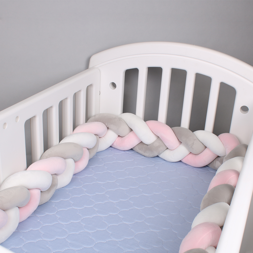 E SO-buts Handmade Braided Crib Bumper,Baby Bumper for Cot Bed,Baby Cushion Plush Knot Pillow,Made of Cotton,220 cm Long