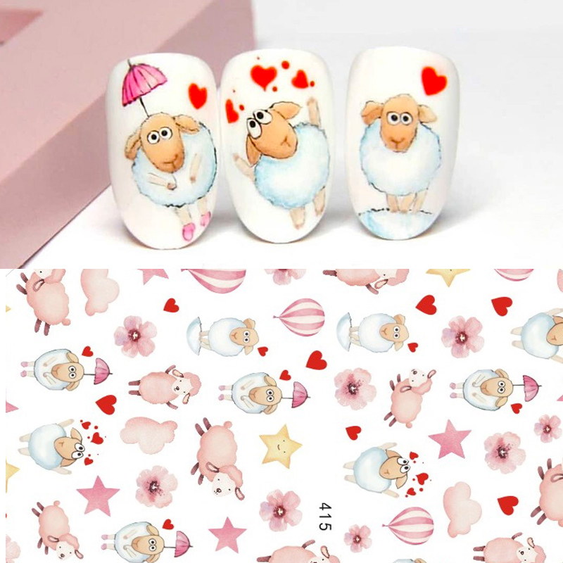 2020 DIY 3D Nail Art Sticker Adhesive Sticker Decals Tool Cute Cartoon Little Sheep Deisgn Nail Art Tattoo Decoration Z0306
