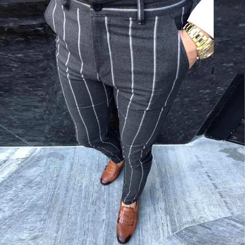 Pantalones Pitillo Para Hombres Pantalones Chinos Ajustados Para Hombres Chino Ropa De Calle Pantalones De Hip Hop Diseno A Cuadros Moda Gris Con Pantalones Informales A Rayas Pantalones Informales Aliexpress