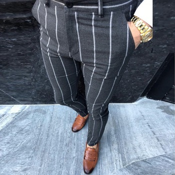 Mens Chinos Slim Fit Skinny Pants Men Chino Trousers Streetwear Hip Hop Pants Plaid Design Fashion Grey With Stripe Casual Pants