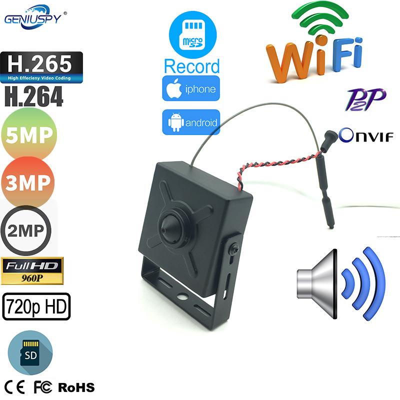 Geniuspy 720P 960P 1080P 3MP 5MP Camhi Smallest Mini WIFI IP Camera P2P With SD Card Slot Wifi AP Wireless Camera With Audio