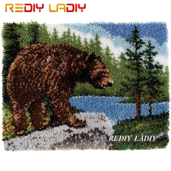 Latch Hook Kits Make Your Own Rug Cozy Bear Forest Tapestry Crocheting Cushion Mat DIY Carpet Rug Printed Canvas Hobby & Crafts