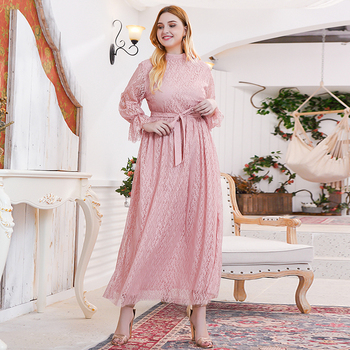 Siskakia Sweet Pink Lace Elegant Long Dress Plus Size Mandarin Collar Flare Long Sleeve Maxi Dresses Evening Party Spring 2020 6