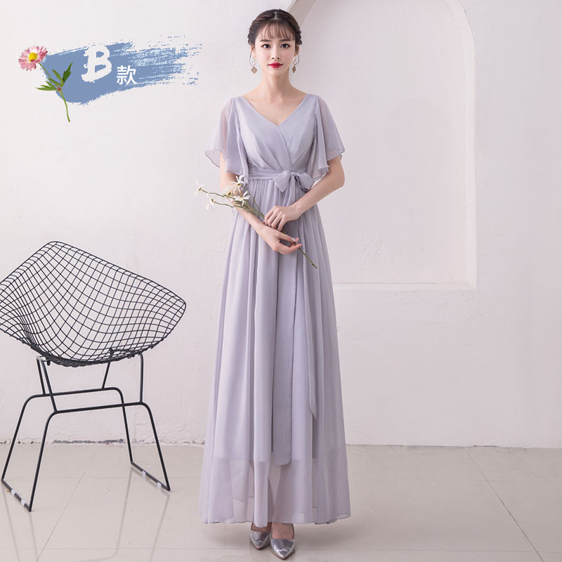 Gray V-neck Chiffon Long Bridesmaid Dresses Elegant Woman For Party And Wedding Sexy Prom Dress Sister Club Simple Dress Vestido