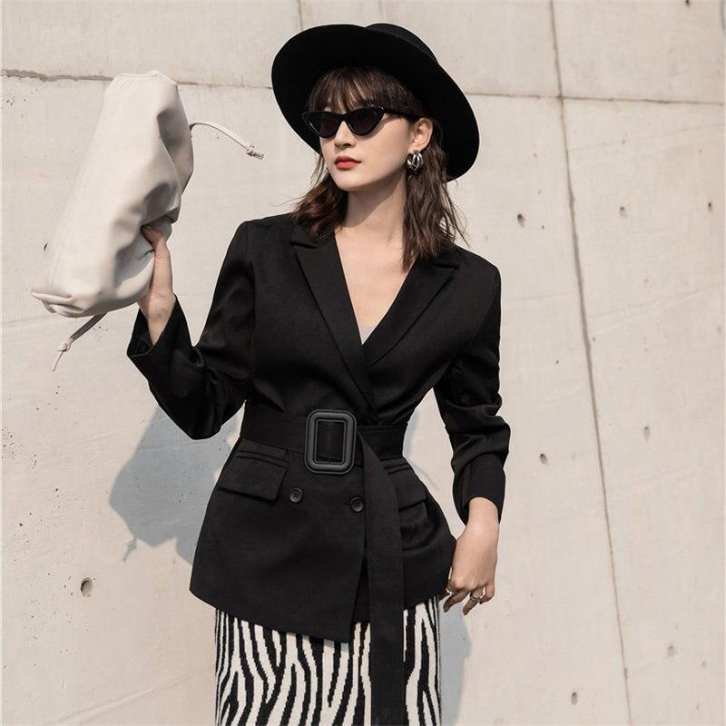 HziriP Black 2020 Chic High Waist Women Elegant All Match High Street Loose Plus Slender Office Lady Casual Feminine Blazers