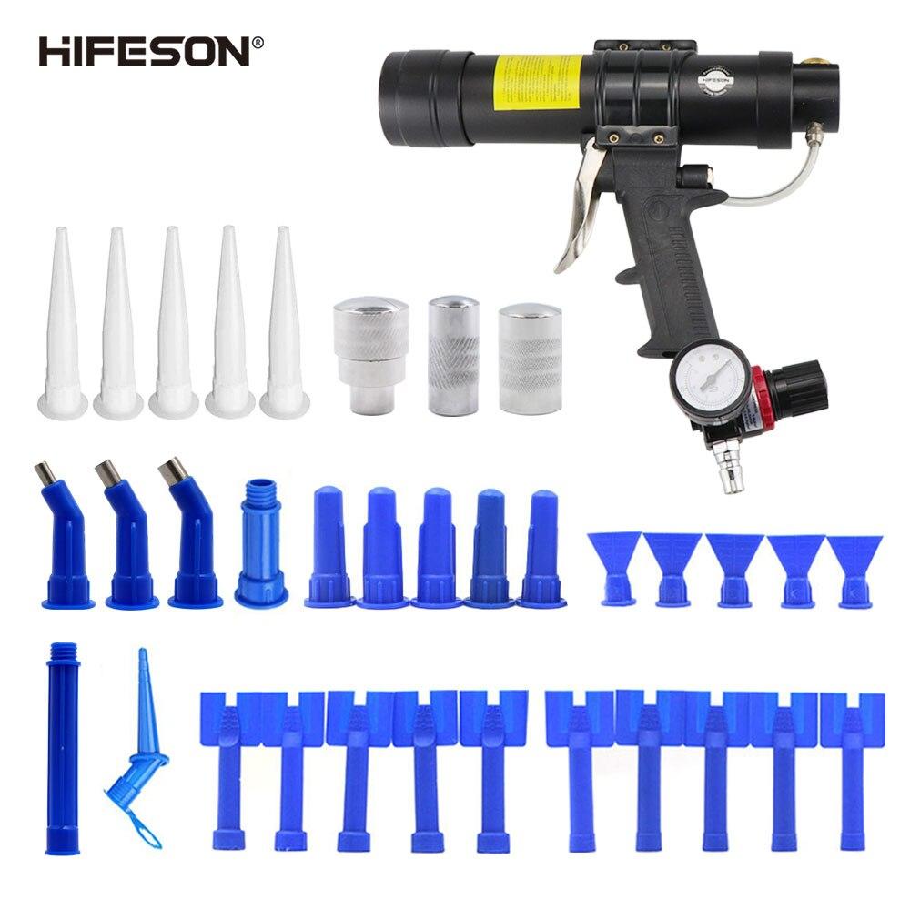 HIFESON 310ml Adjustable HIFESON Pneumatic Glass Glue Gun Air Rubber Gun Hard Glue Sealant Applicator Caulking Gun Toolbox
