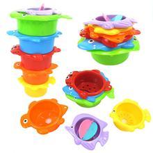 6 шт., детские игрушки, штабелирование чашек, забавные игрушки для мальчиков и девочек, детские радужные кольца с башней, складные гнезда для детей