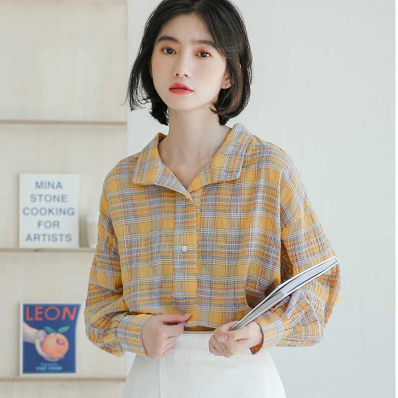[DEAT] 2019 新秋冬ラペル長袖カラー人格格子縞の簡単なシャツの女性はファッション潮 13D527