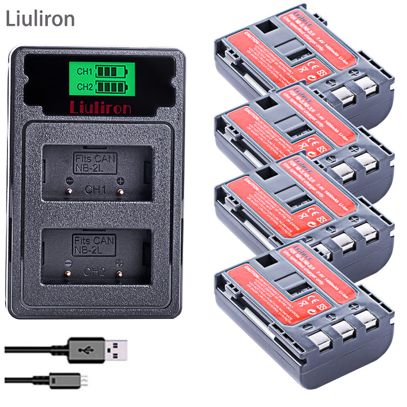 1400mAh NB-2L NB-2LH NB 2L Nb2l NB2LH Battery +Dual USB Charger For Canon EOS 400D S80 S70 S50 S60 350D G7 G9 Kiss N X Rebel XT
