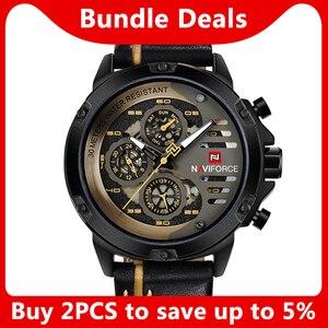 Image 2 - Naviforce homens relógios de couro genuíno esporte relógio de pulso masculino marca superior luxo à prova d24 água 24 horas data relógio de quartzo reloj hombre