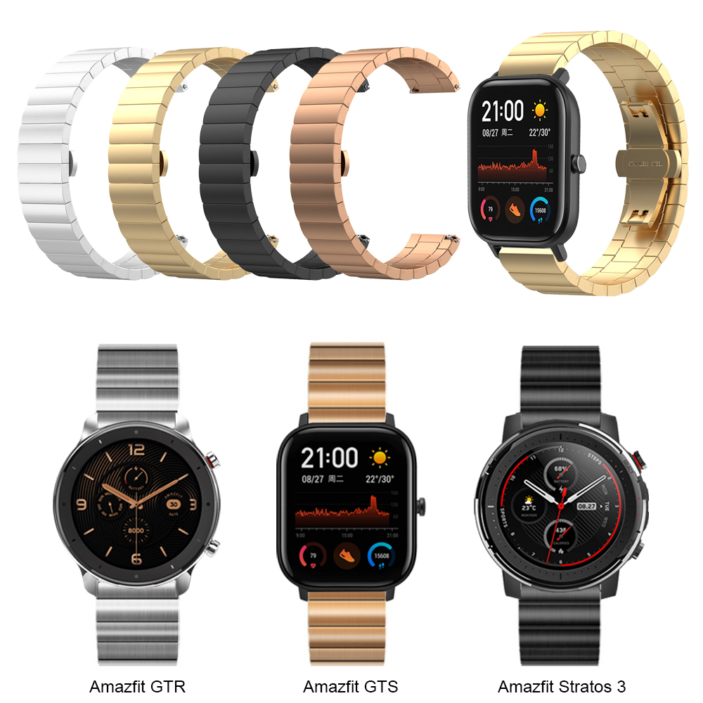 Metal Strap For Huami Amazfit GTS / GTR 47mm 42mm Watch Bracelet Band For Amazfit 3 Stratos / Bip Lite Stainless Steel Watchband